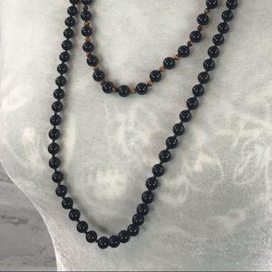 Black bead necklaces. 2 necklaces.